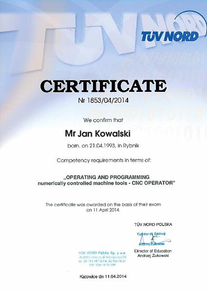 certificate course in cnc machine programming